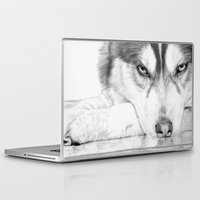 husky Laptop & iPad Skins featuring Siberian Husky  by Tania
