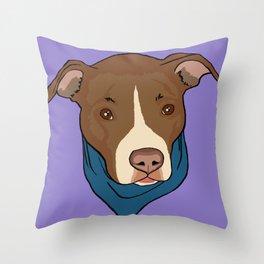 Pit Bull wearing Bandana Purple Throw Pillow