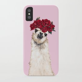 Llama with Red Roses Crown iPhone Case