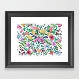 Flower burst, Illustration, print, art, pattern, floral, flowers, colour, painting, design, Framed Art Print