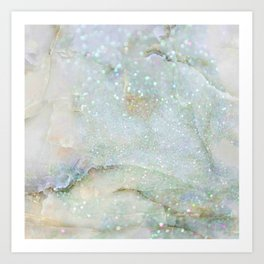 Elegant Aqua Marble with Flecks of Diamond Glitter Art Print