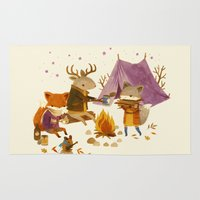 fall Area & Throw Rugs featuring Critters: Fall Camping by Teagan White