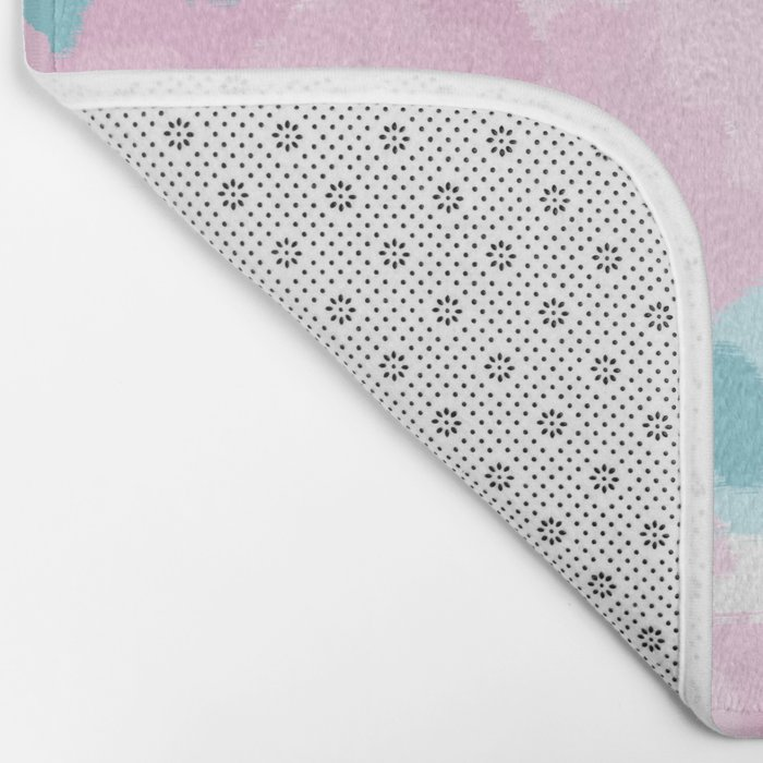 Cruz - abstract painting pastel pink and blue minimal modern decor for office home Bath Mat