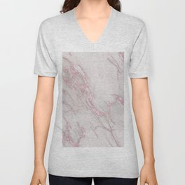 Marble Love Rose Gold Pink Metallic Unisex V-Neck