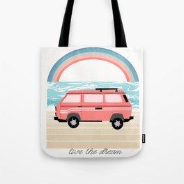 Van Life II - rainbow beach van road tripping travel camping bus RV art Tote Bag