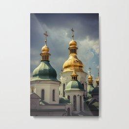 Golden Domes, Kiev. Architrcture photography poster art print Metal Print