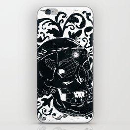 Black Lino Skull iPhone Skin