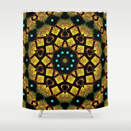 Bright Yellow Mosaic Symmetry Mandala Shower Curtain