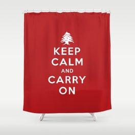 Keep Calm And Carry On (Lebanon) Shower Curtain