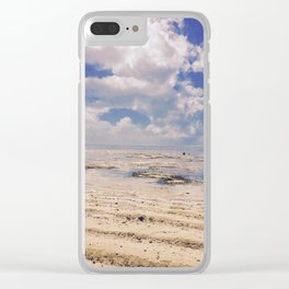 Art is the Lie-- brush strokes in the sky - titanium white. Clear iPhone Case