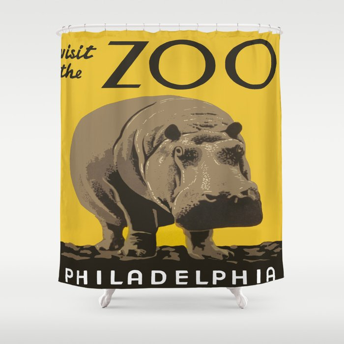 Vintage Visit The Zoo Hippo Shower Curtain