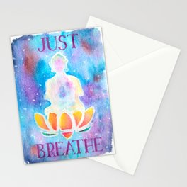 Just Breathe - Hippy Boho Buddha Watercolor Stationery Cards