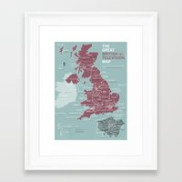 Framed Art Prints featuring The Great British Television Map by tsritz