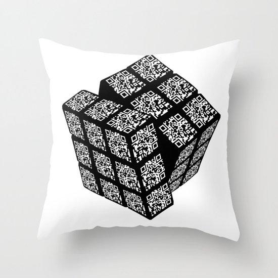 qr cube Throw Pillow