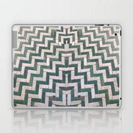 Moroccan floor tiles in green and white chevron Laptop & iPad Skin