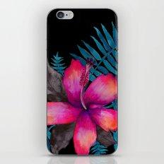 Pink Hibiscus Flower - BLACK iPhone & iPod Skin