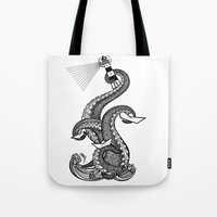 lighthouse Tote Bags featuring Lighthouse by María Nikólskaya