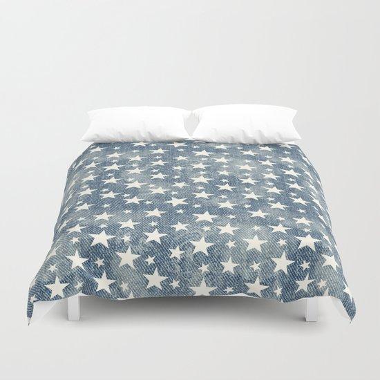 Stars with denim effect Duvet Cover