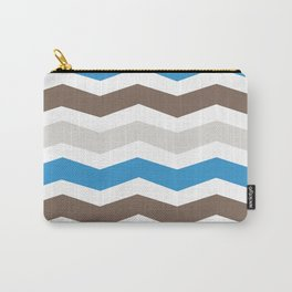 Brown Blue Gray Chevron Carry-All Pouch