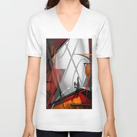 basketball V-neck T-shirts featuring Basketball by Robin Curtiss