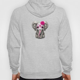 Pink Day of the Dead Sugar Skull Baby Elephant Hoody