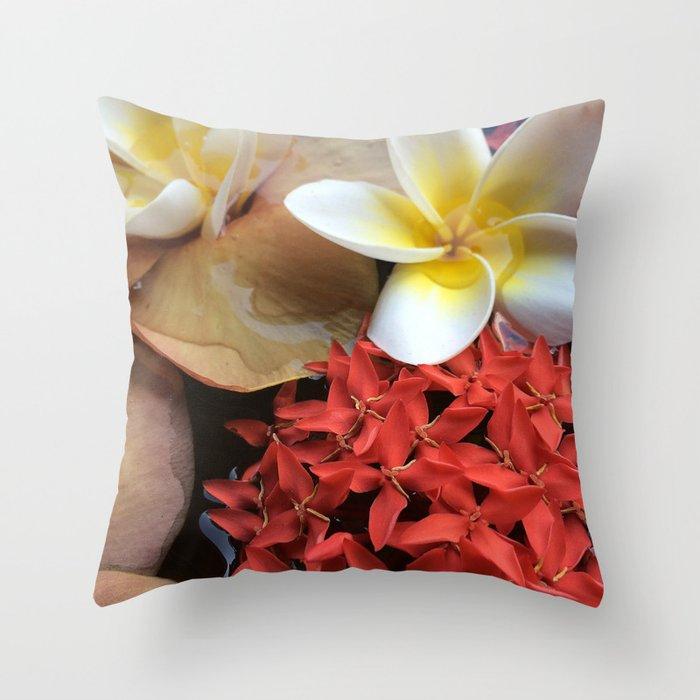 Frangipani & Ixora Throw Pillow
