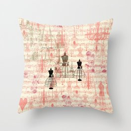 Vintage coral pink mannequin music note collage design Throw Pillow