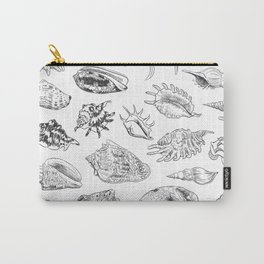 collection of sea shells, black contour on white background Carry-All Pouch