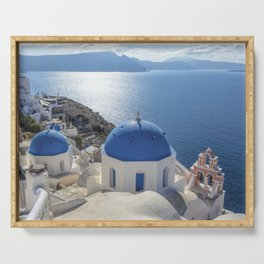 Santorini island in Greece Serving Tray