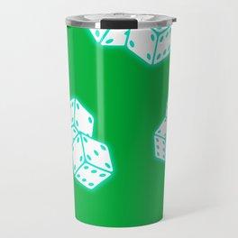 Two game dices neon light design Travel Mug