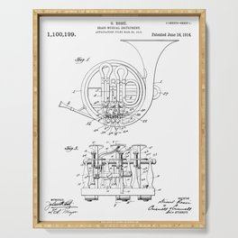 French Horn Patent - Horn Player Art - Black And White Serving Tray