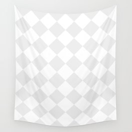 Large Diamonds - White and Pale Gray Wall Tapestry