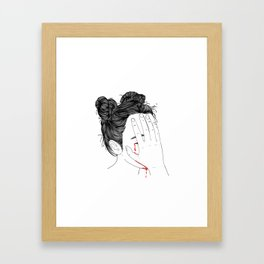 This girl is embarrassed off her face Framed Art Print
