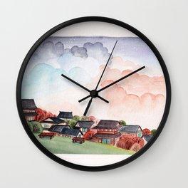 Japan landscape watercolor illustration Wall Clock