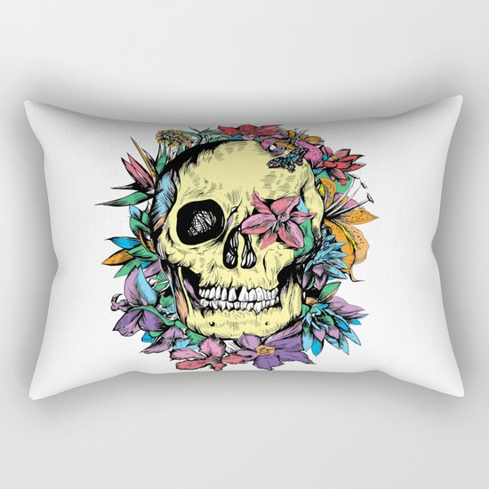 floral skull colorful drawing Rectangular Pillow