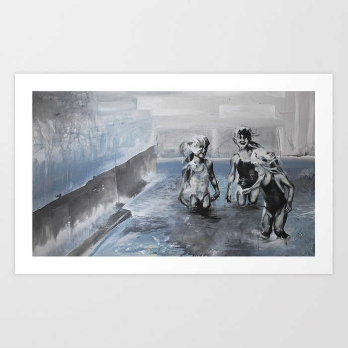 With toes dipped in a sea of concrete Art Print
