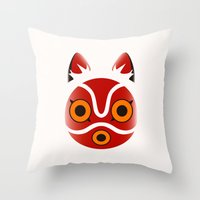 princess mononoke Throw Pillows featuring Mononoke by Miss Phi