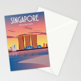Singapore travel poster Stationery Cards