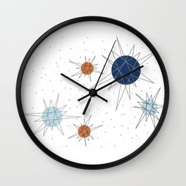 Atomic Stars Blue & Orange Wall Clock