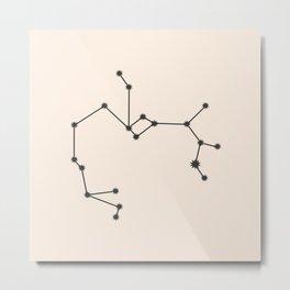 Sagittarius Zodiac Constellation Charcoal Metal Print