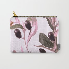 Olive tree branch with pink tones on white background Carry-All Pouch