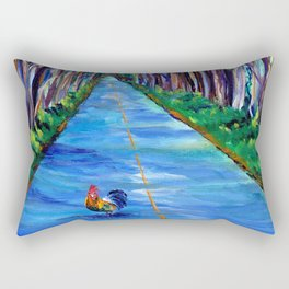 Tree Tunnel with Rooster Rectangular Pillow
