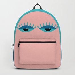 Unamused Eyes | Turquoise on Dark Peach Backpack