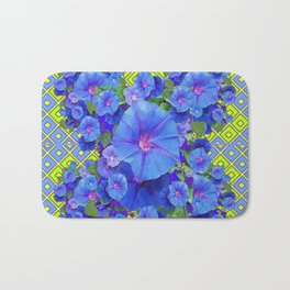 Lime-Blue Morning Glories Pattern Art Bath Mat