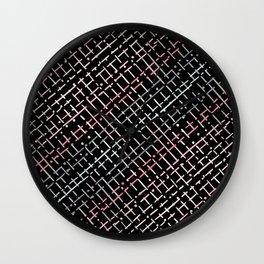 pastel grid pattern doodle on black Wall Clock