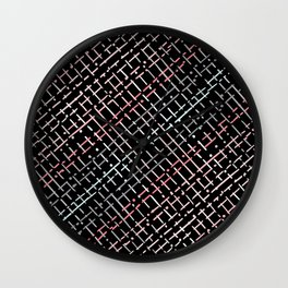 pastel grid pattern doodle on black Wall Clock