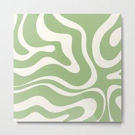 Modern Liquid Swirl Abstract Pattern in Light Sage Green and Cream Metal Print