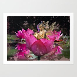 Fairy in a lotus Art Print