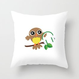 Owls Music Lovers Musicians Nocturnal Birds Night Hunter Animals Wildlife Wilderness Gift Throw Pillow