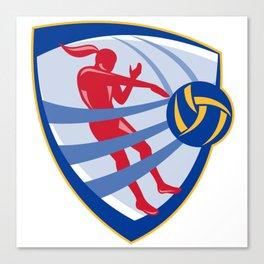 Volleyball Player Spiking Ball Crest Canvas Print
